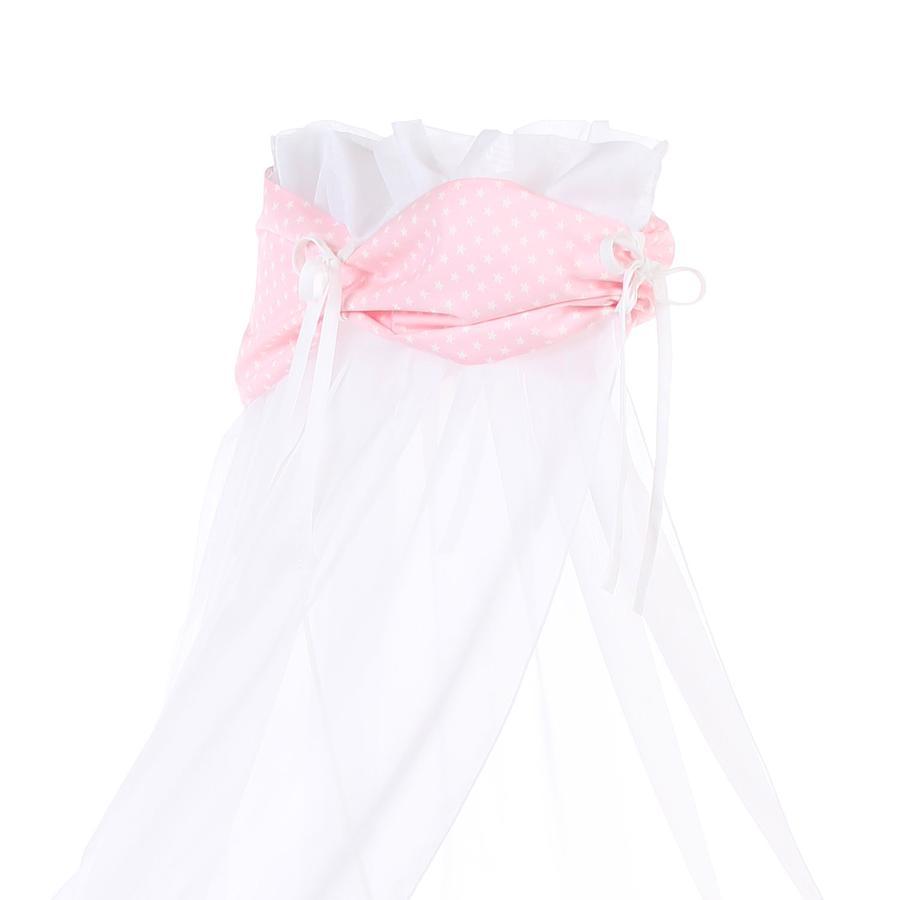 Babybay Himmelstof rose stjerner hvid 200 x 135 cm