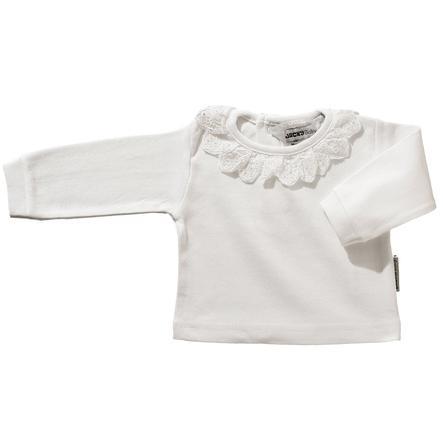 JACKY Camisa de manga larga con cuello de encaje blanco