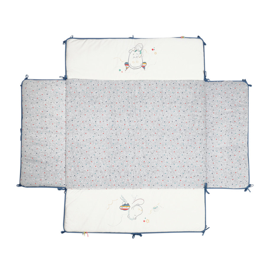 noukie´s Spjälskydd för lekhage, Guss & Victor vit/grå 75 x 95 cm