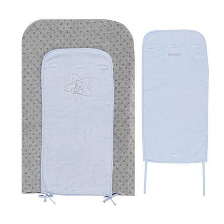 noukie´s Wickelauflage mit Bezügen Poudre d'étoiles hellblau 70 x 45 cm