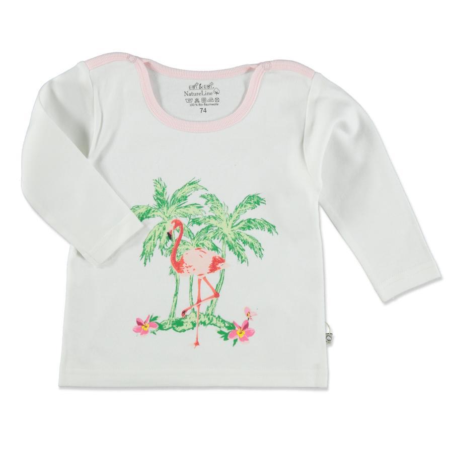 EBI & EBI Fairtrade shirt met lange mouwen, wit/roze, met een Fairtrade lange mouw