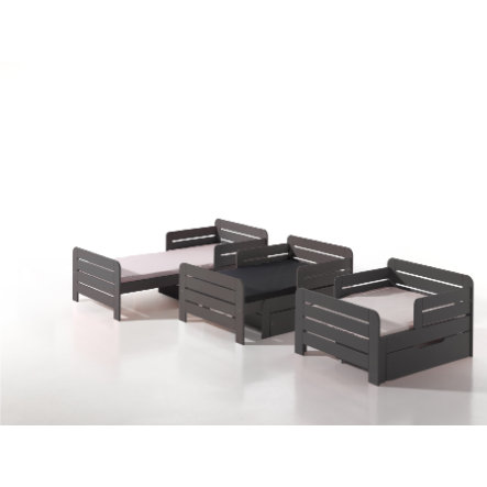 VIPACK Kinderbett Jumper grau inkl. Bettschublade und Matratze 90 x 140+60