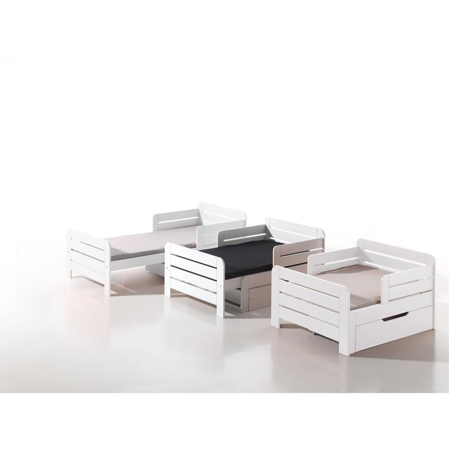 VIPACK Børneseng Jumper hvid inkl. sengeskuffe og madras 90 x 140+60