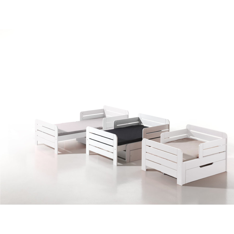 VIPACK Nastavitelná postel Jumper bílá se zásuvkami a matrací 90 x 140 + 60
