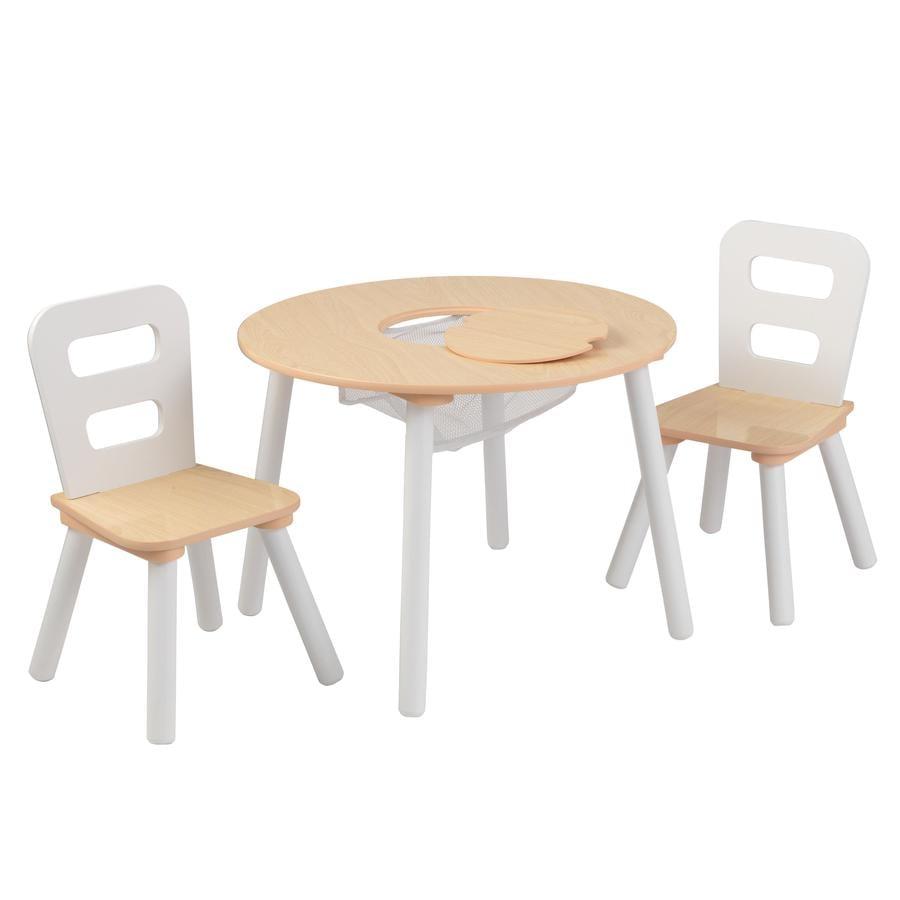 KidKraft® Rundt opbevaringsbord med to stole hvid/natur