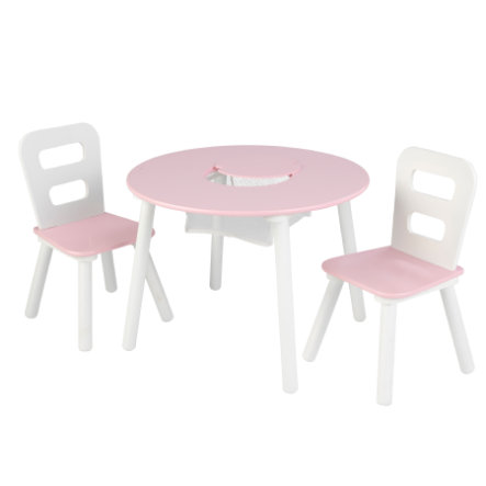 KidKraftR Ensemble Table 2 Chaises Enfant Blanc Rose