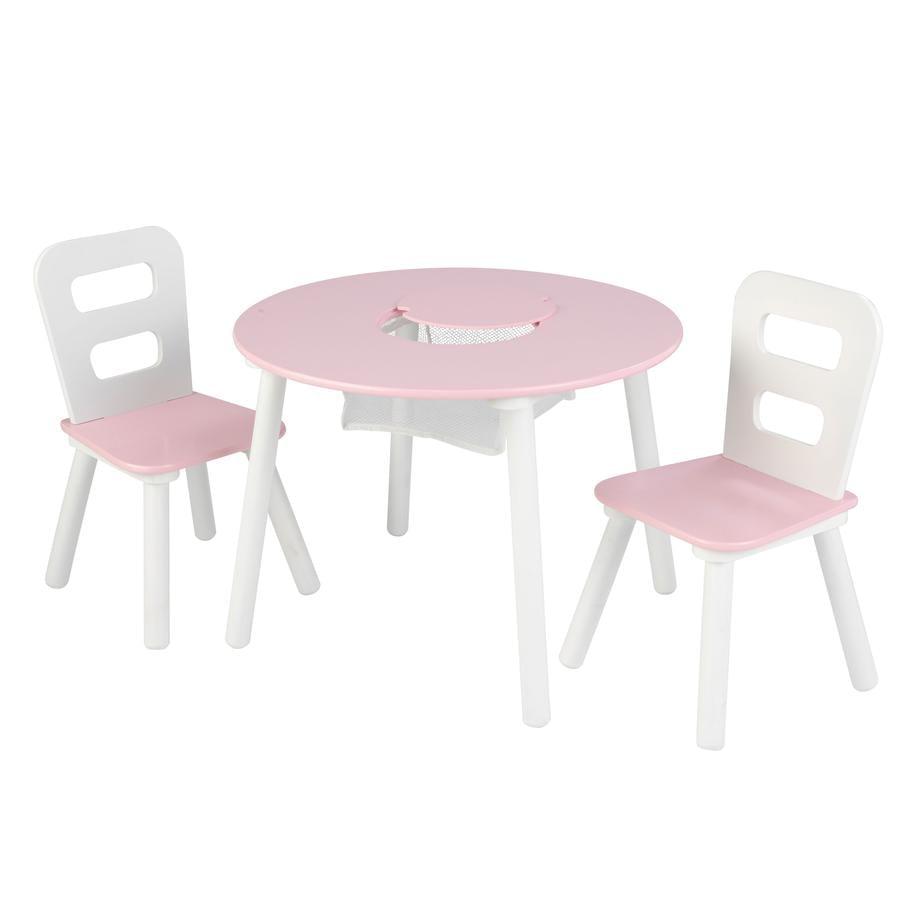 KidKraft® Runder Aufbewahrungstisch mit zwei Stühlen weiß / rosa