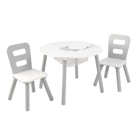 KidKraft® Runder Aufbewahrungstisch mit zwei Stühlen weiß / grau
