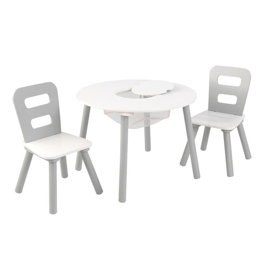 KidKraft® Pyöreä pöytä ja kaksi tuolia, valkoinen/harmaa