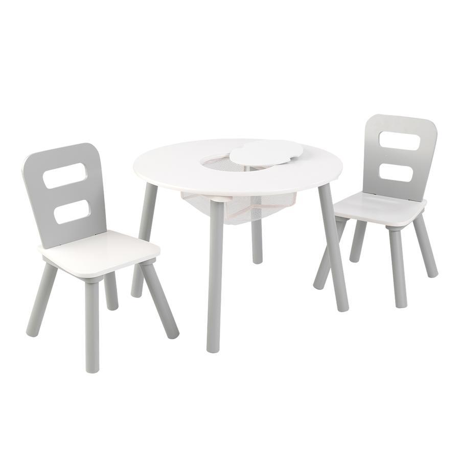 KIDKRAFT Set 2 židle a kulatý stůl Round storage barva: bílá/šedá