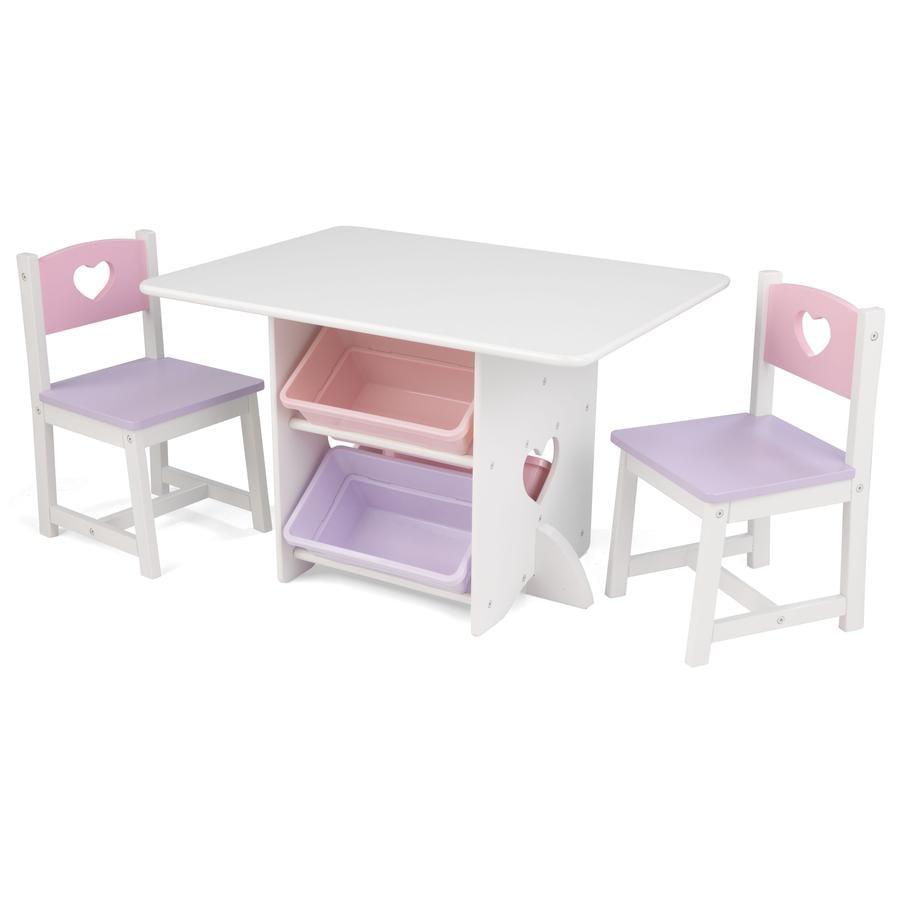 KidKraft® Pöytä ja kaksi tuolia, sydän, valkoinen/vaaleanpunainen