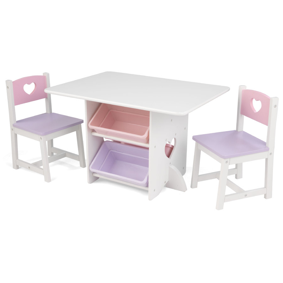 KidKraft® Set tavolo e sedie a cuori bianco/rosa