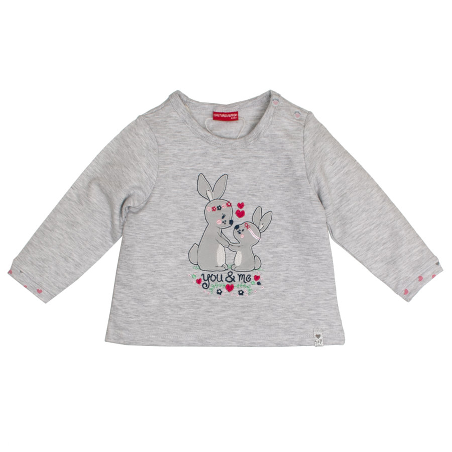 SALT AND PEPPER Girl s Sweatshirt Lovely bunnies gris clair lapin