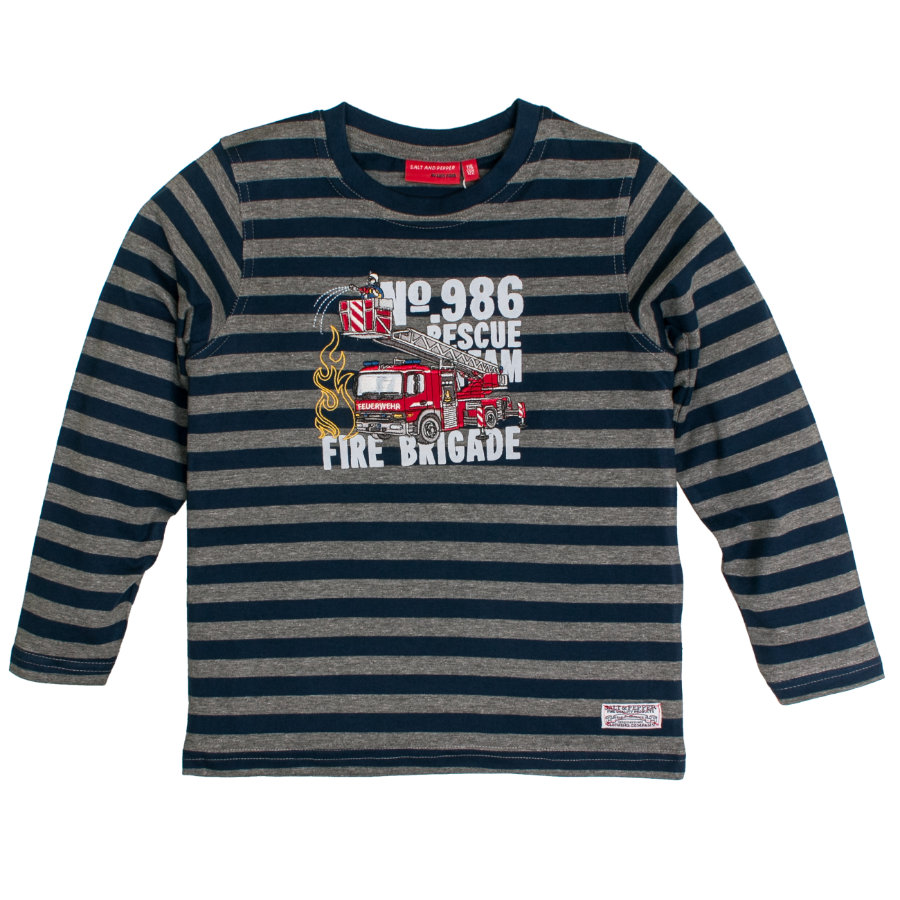 SALT AND PEPPER Boys Langarmshirt Fire gestreift dark grey