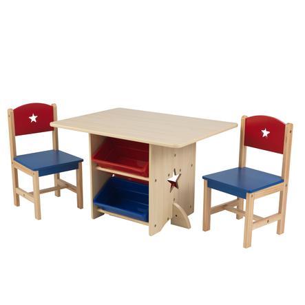 KidKraft® Pöytä ja kaksi tuolia, tähti, puunvärinen/punainen/sininen