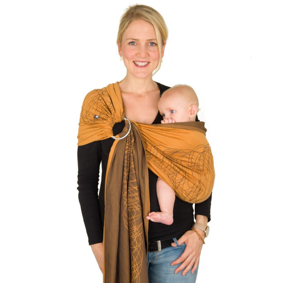 Hoppediz Ring-Sling Fular portabebés Jacquard New York Mocca Orange