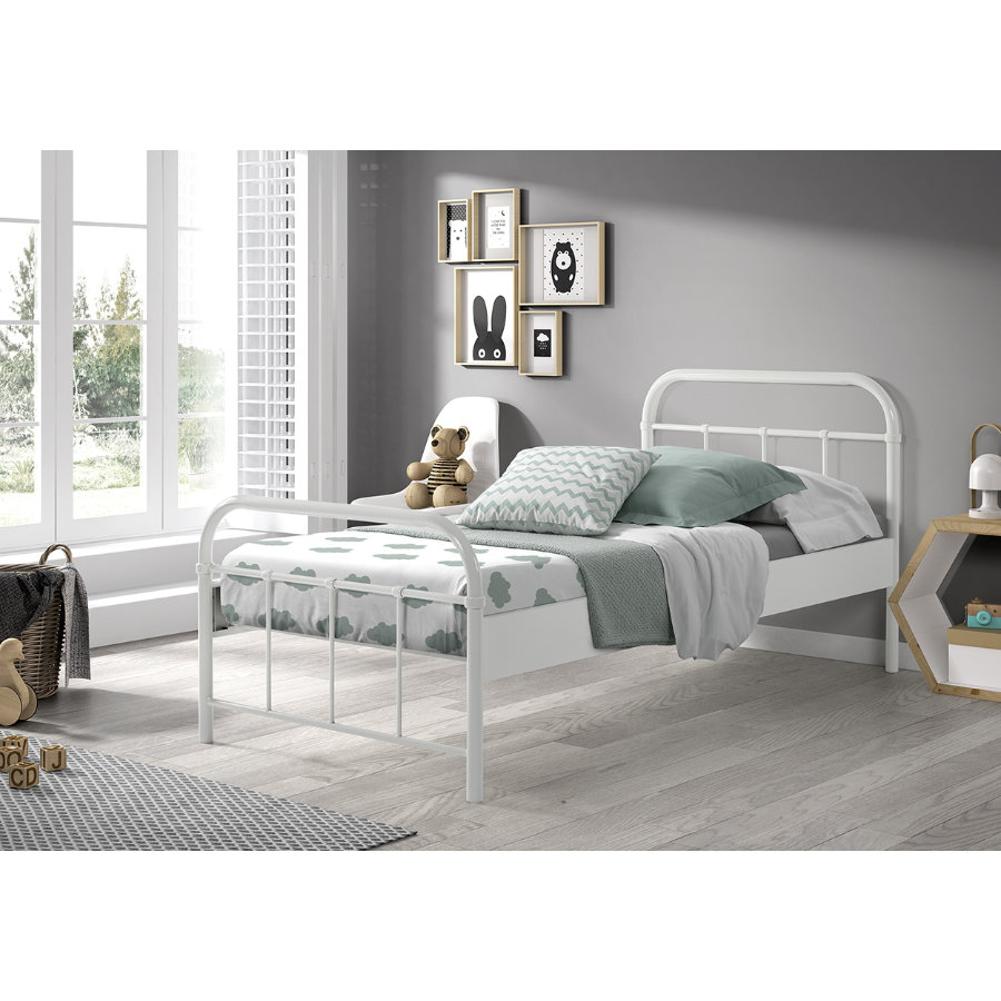 VIPACK Kovová postel Boston bílá 90 x 200 cm