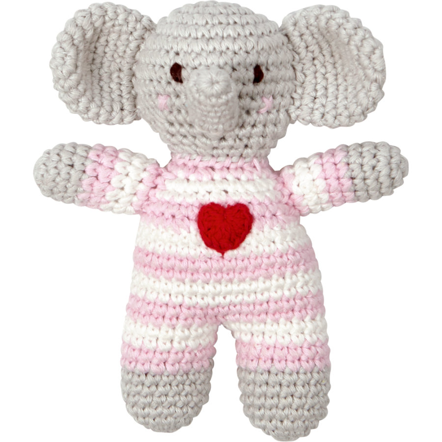 COPPENRATH Virkattu helistin norsu BabyGlück vaaleanpunainen