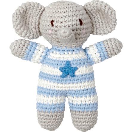 """""""COPPENRATH Heklet skrangle Elefant lyseblå - Baby luck"""""""