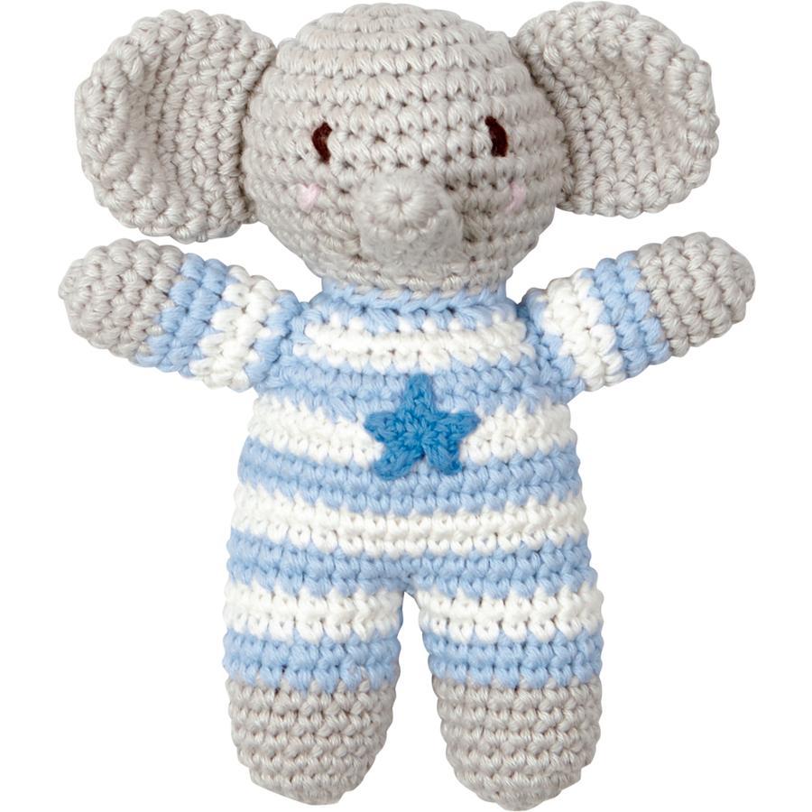 SPIEGELBURG COPPENRATH Häkel-Rassel Elefant hellblau BabyGlück
