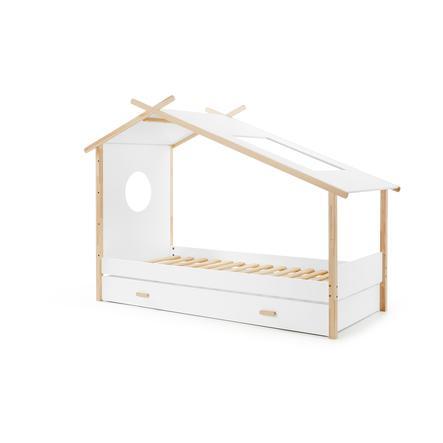 VIPACK Bílá dětská postýlka Cocoon 230 x 100 cm se zásuvkami