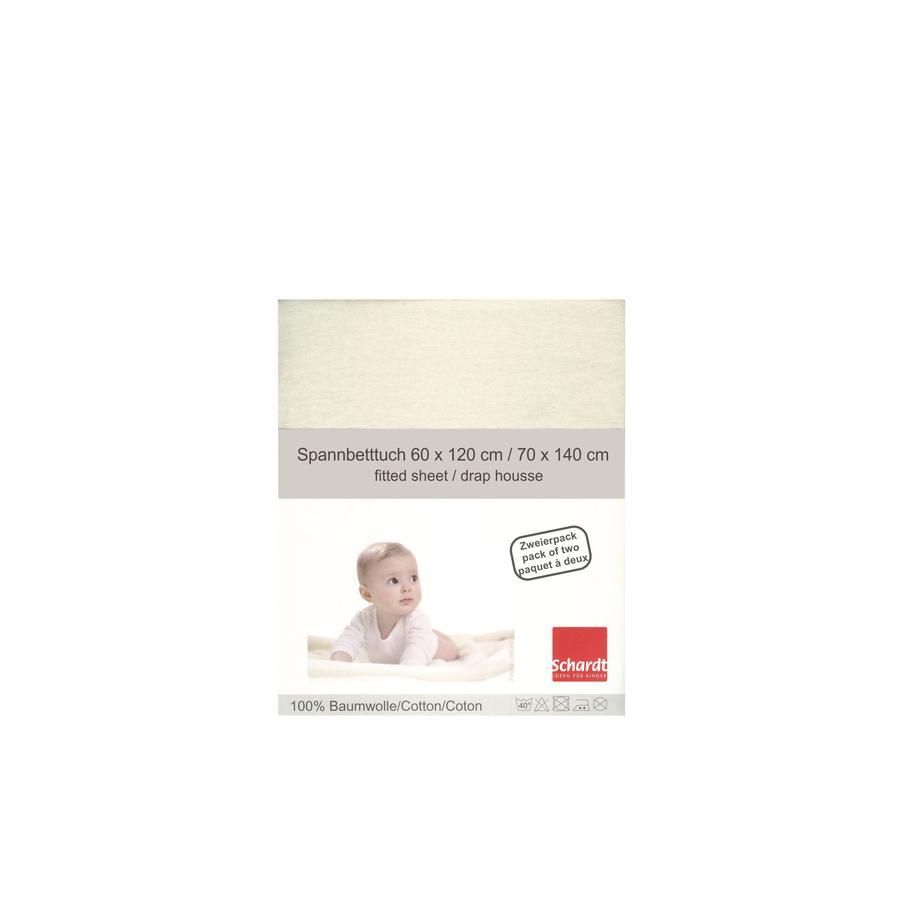Schardt Jersey Spannbetttuch Doppelpack vanille 70 x 140 cm