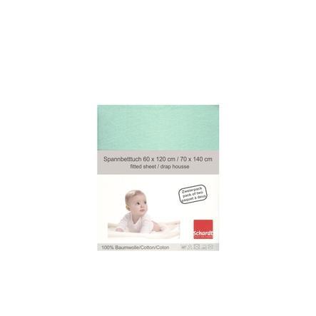 Schardt Drap-housse enfant Jersey menthe 70x140 cm pack duo