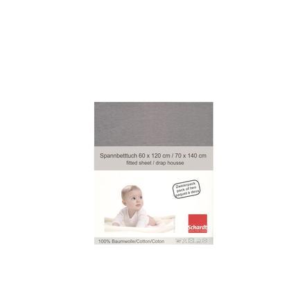 Schardt Jersey Hoeslaken 2-pack, lichtgrijs 70 x 140 cm