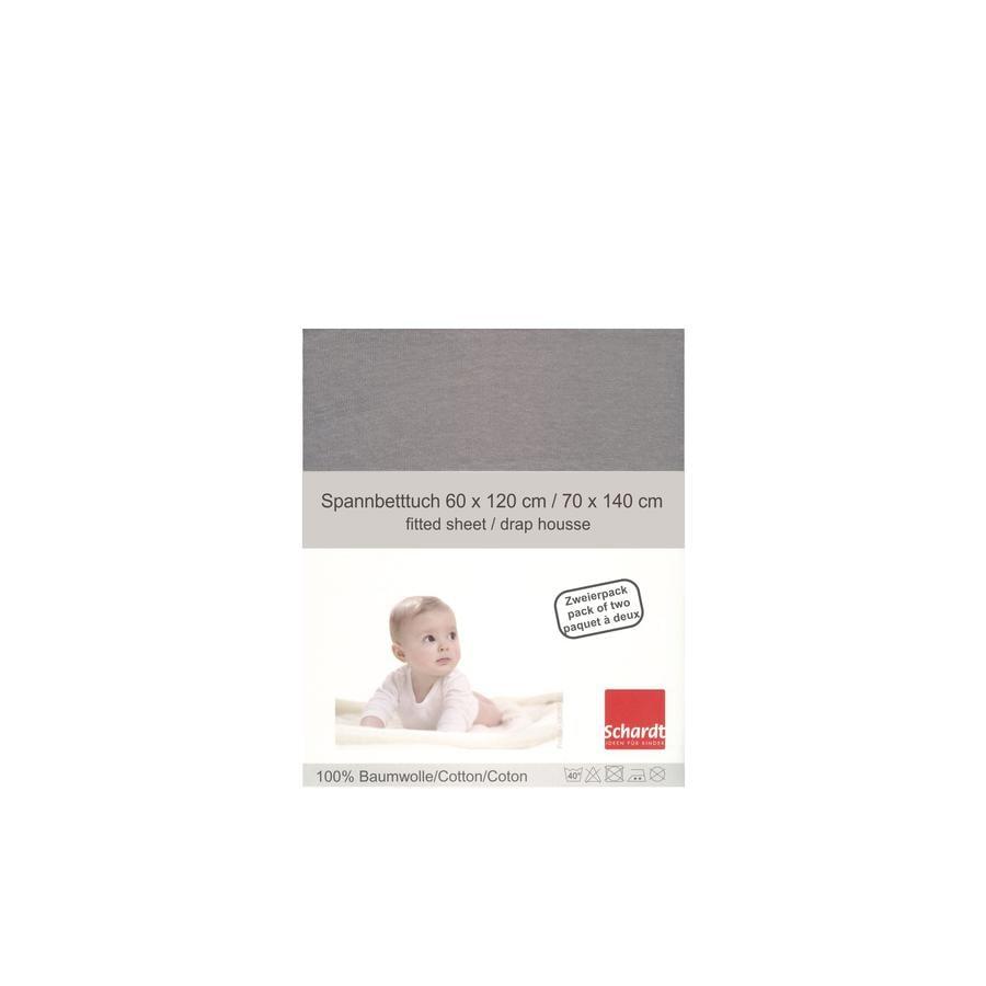 Schardt Jersey Stræklagen Doppelpakke lysegrå 70 x 140 cm