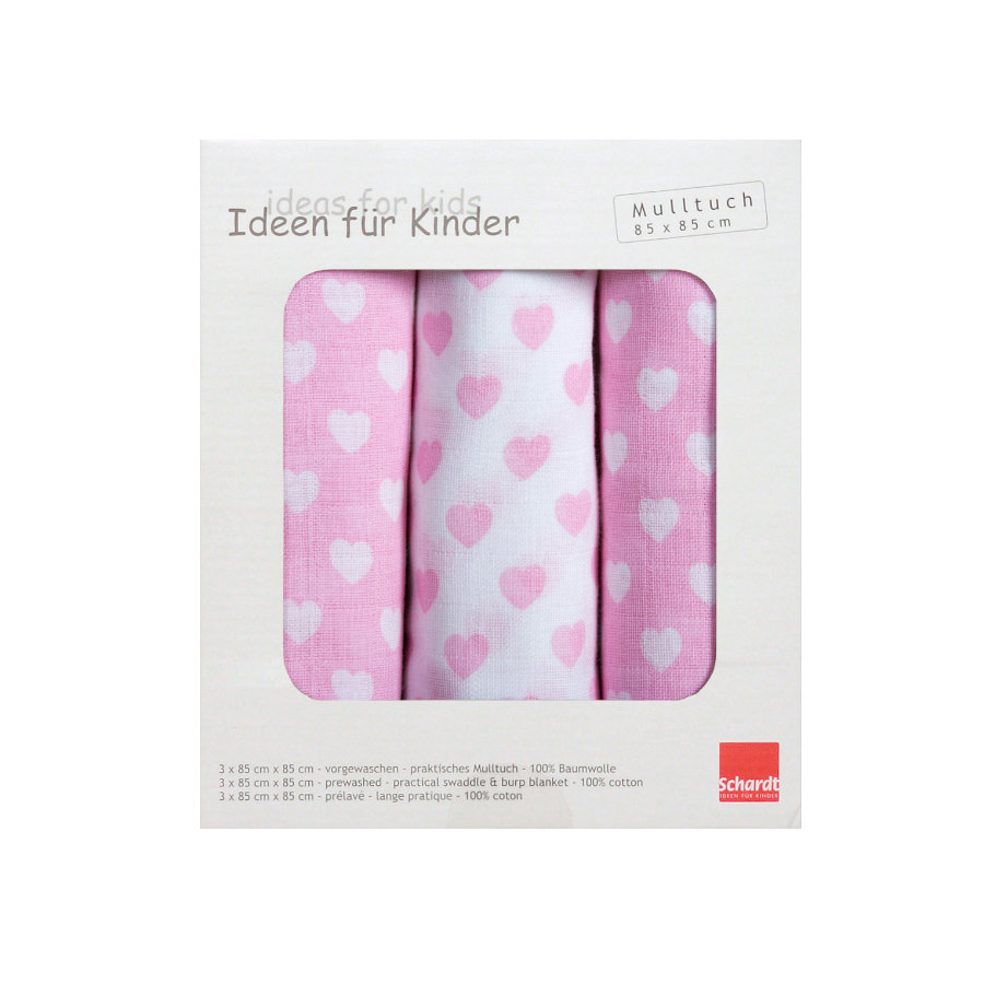Schardt Mulltuch 3er Pack Herzchen rosa