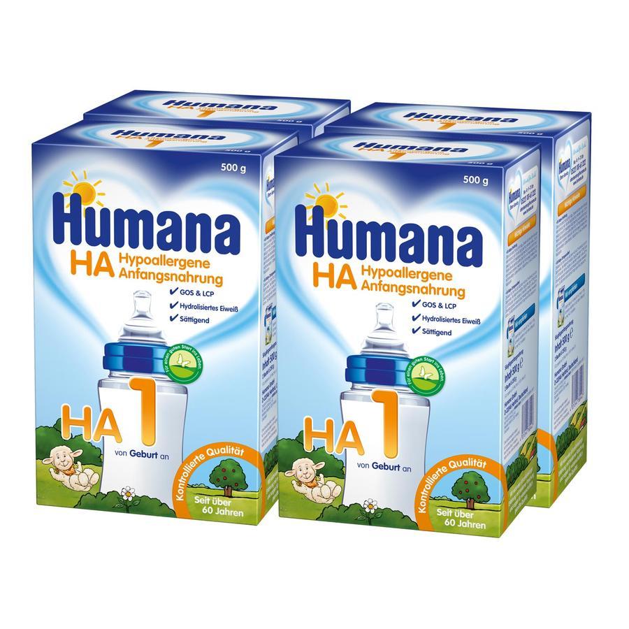 Humana hypoallergene Anfangsnahrung HA1 4 x 500 g ab der Geburt