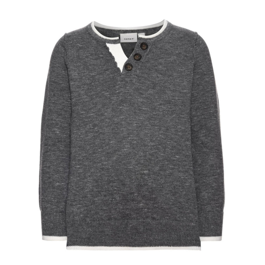 name it Boys Langarmshirt Knopfleiste grey melange