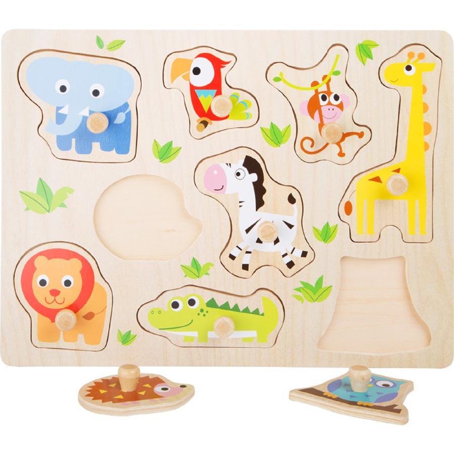 small foot® Drewniane puzzle Zwierzątka z zoo, 9 części