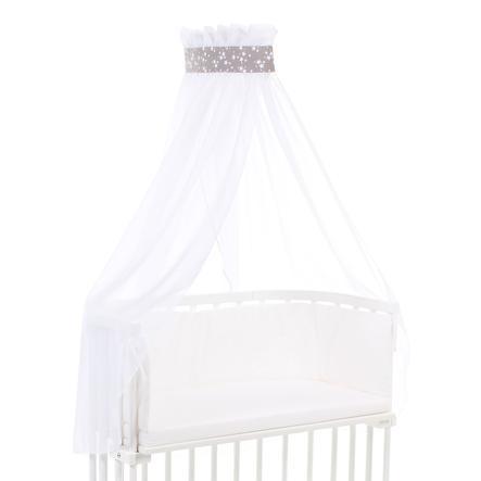 babybay Ciel de lit taupe Étoiles blanc, 200 x 135 cm