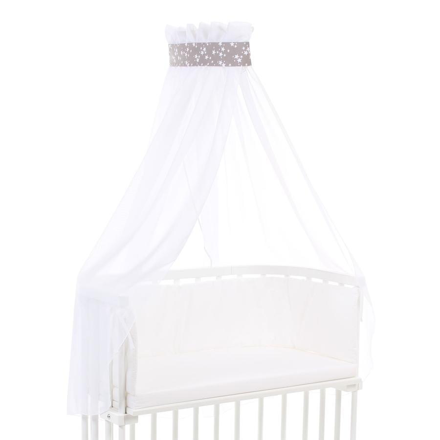 babybay himmelsk stoff taupe stjerner hvit 200 x 135 cm