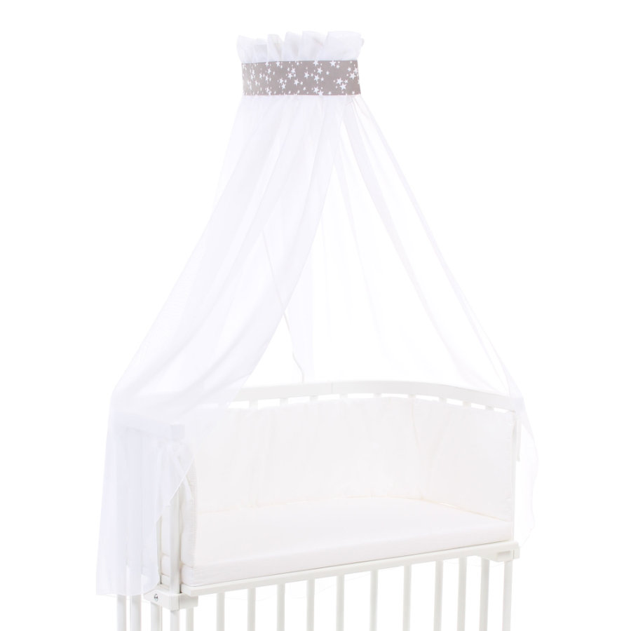Babybay Sengehimmel Taupe stjerne hvid 200 x 135 cm