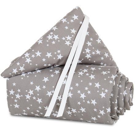 Protector acolchado babybay mini/medio taupe estrella blanca