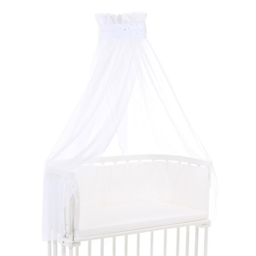 babybay Ciel de lit blanc étoiles sable/bleu azur 200 x 135 cm