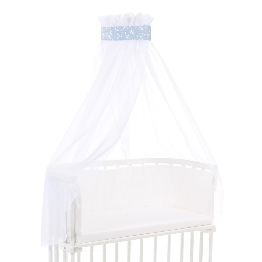 Babybay ciel de lit bleu azur toiles blanc 200 x 135 cm - Ciel de lit bleu ...