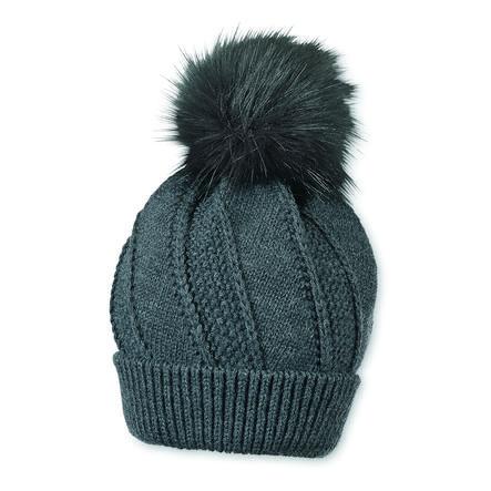 Sterntaler Cappello a maglia treccia modello melange antracite melange