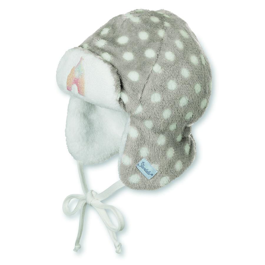 Sterntaler Girl s flying cap dots stone grey
