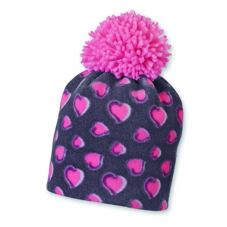 Sterntaler Girls cap microfleece hearts aubergine