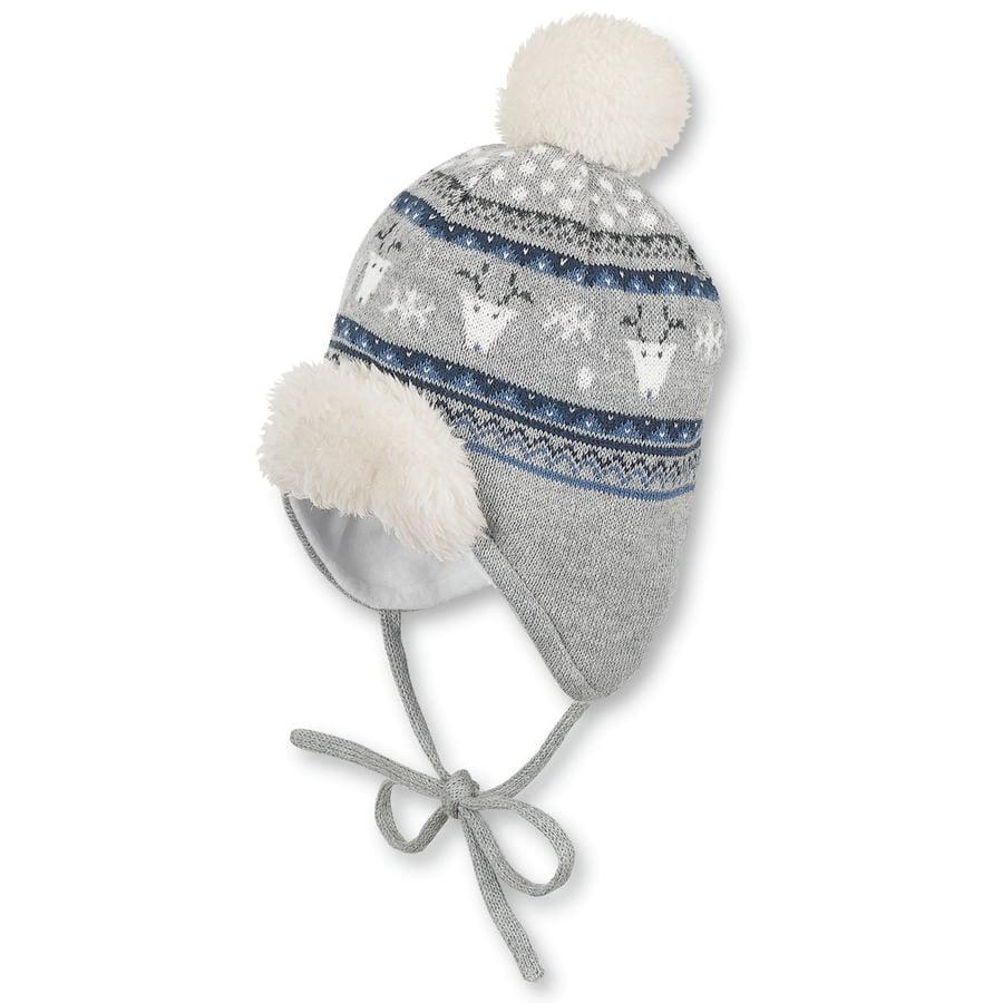 Sterntaler pletená čepice šedívá melange