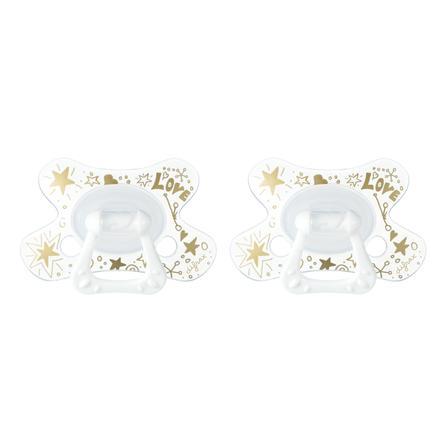 difrax Succhietto Dental in silicone Gold 6+, 2 pezzi