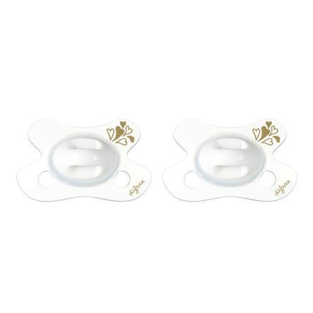difrax Succhietto in silicone naturale Gold Newborn, 2 pezzi