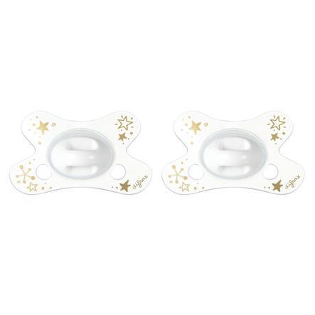 difrax Succhietto Dental in silicone Gold 0-6 mesi, 2 pezzi