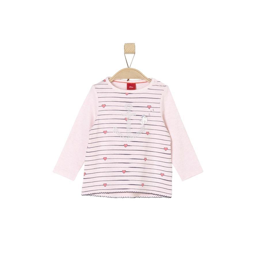 s.Oliver Girl s Mélange rosa chiaro a manica lunga rosa melange