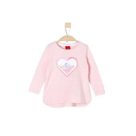s. Oliver Tyttöjen pitkähihainen paita vaaleanpunainen melange