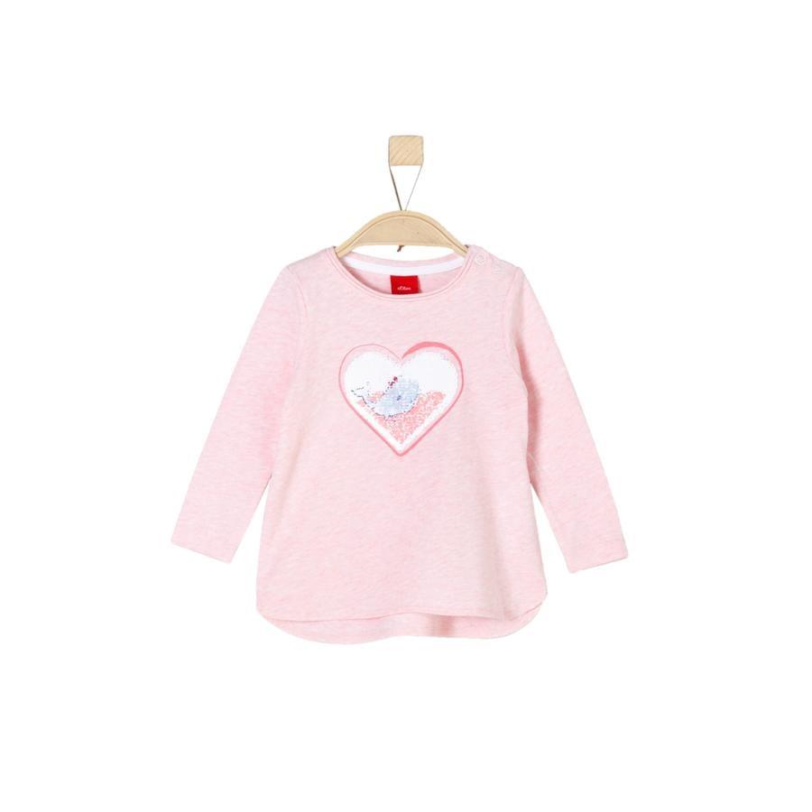 s.Oliver Girl s Shirt met lange mouwen lichtroze melange