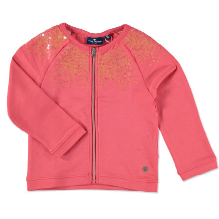 TOM TAILOR Girl s Felpa Giacca con paillettes Flashy Coral